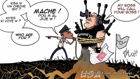 Caricature: Haitian Police vs American Mercenaries