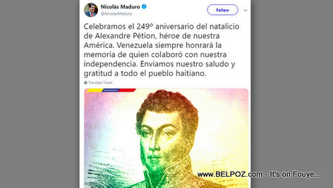 President Maduro pays tribute to Haitian hero Alxandre Petion in a tweet