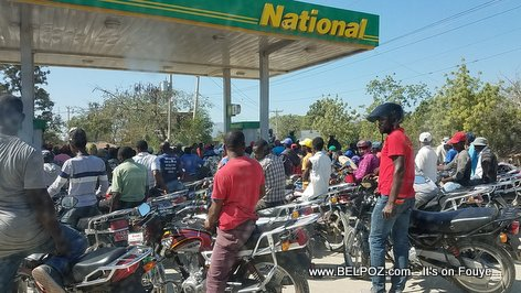 National Gas Station filled with Motorcycles during a gas shortage