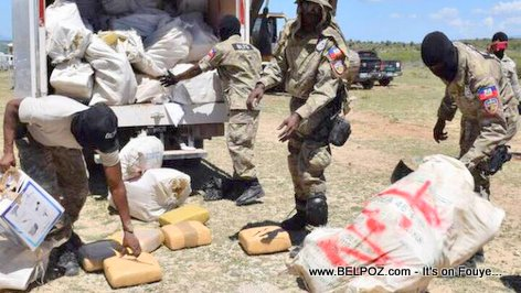 Haiti Drug Enforcement Police BLTS destroying marijuana and cocaine