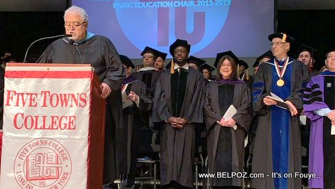 PHOTO: Wyclef Jean in his black gown and academic cap
