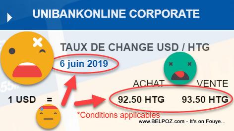 Taux de Change Unibank Haiti - Dollar Américain (USD) et Gourde Haitienne (HTG)
