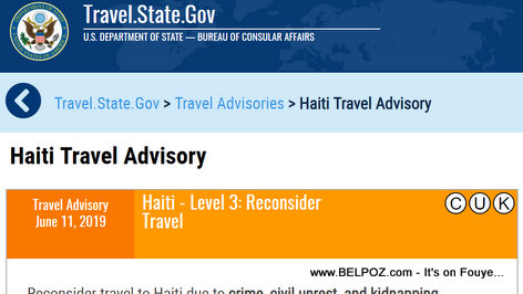 Haiti Travel Warning - Level 3: Reconsider Travel