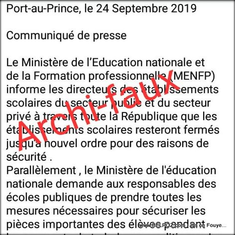 IMAGE: Fake News that School is closed in Haiti by Education Ministry