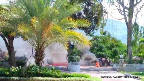 Tires Burning at the Gates of the Royal Decameron Indigo Beach Resort in Haiti