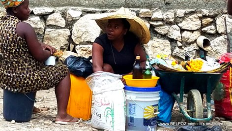 Ti Machann in Haiti selling rice and cooking oin in the streets