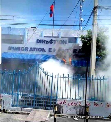 Protesters set fire to Haiti's Immigration Building in Port-au-Prince