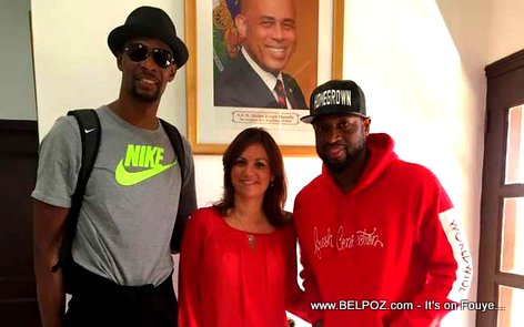 NBA Stars Dwyane Wade and Chris Bosh with Haiti Tourism Minister Stephanie Villedrouin