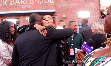 LeToya Luckett (Destiny's Child) hugging and thanking Wyclef Jean at  the MTV VMAs