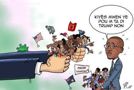 Haitian newspaper caricature about the United States deporting Haitians amid COCID-19 pandemic