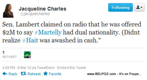 Jacqueline Charles Tweets about Senator Lambert