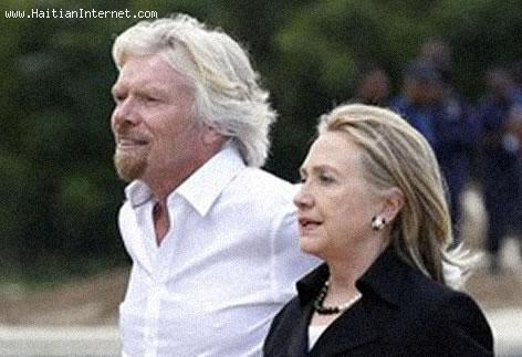 Hillary Clinton and Sir Richard Branson in Caracol Haiti