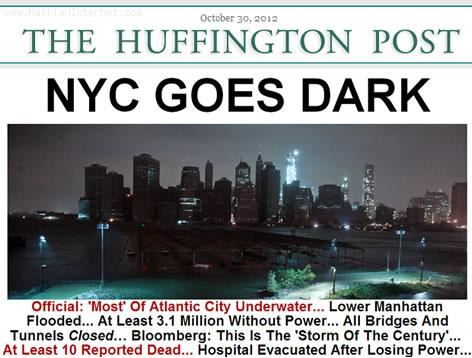 Superstorm Sandy - New York City Goes DARK