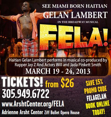 Haitian Gelan Lambert in Broadway Musical FELA!