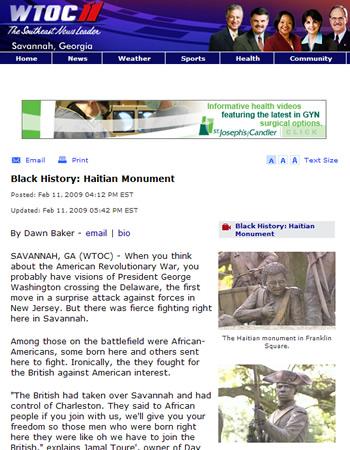 Black History month - Haiti Savanah Monment
