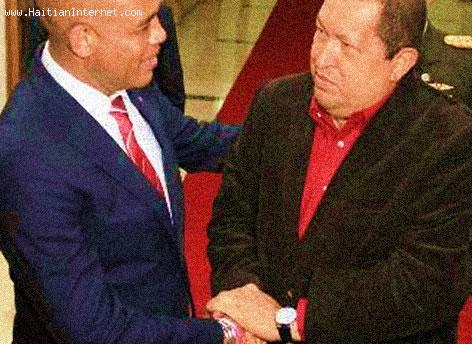 Haiti President Michel Martelly and Venezuela President Hugo Chavez