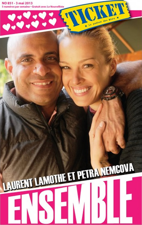 Laurent Lamothe and Petra Nemcova - Front page of Ticket Magazine
