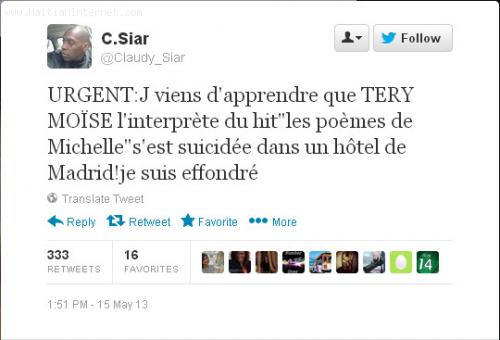 Claudy Siar Tweet: Teri Moise Died in Madrid Spain