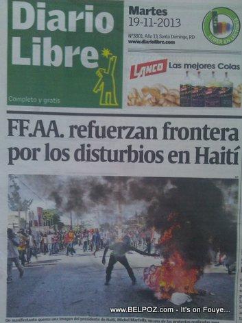 Diaro Libre - DR Newspaper - front page 19 Nov 2013