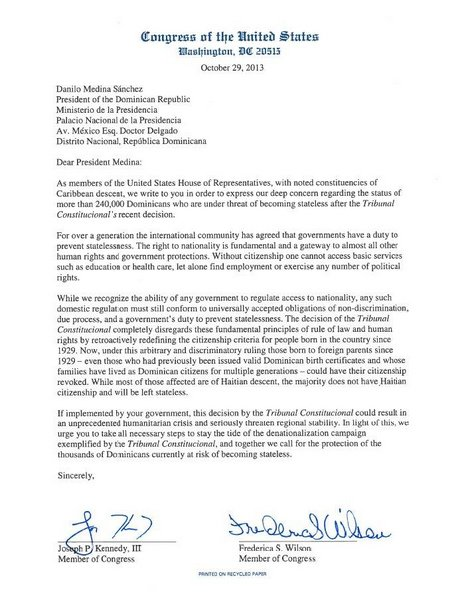 Letter from United States Congress to President Danilo Medina