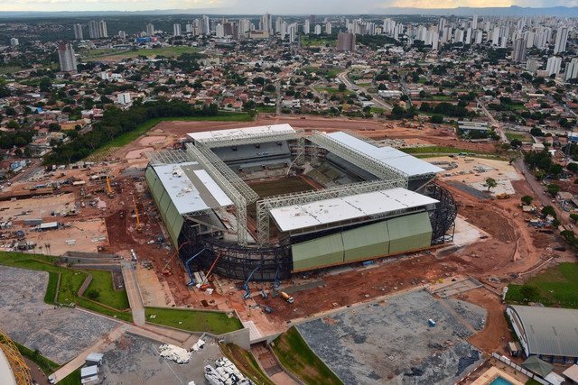 A stadium in brazil being built with Haitian help