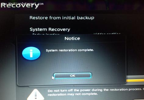 Laptop computer recovery screen
