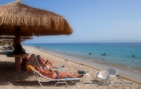 Tourists at the Beach in Club Indigo beach resort in Montrouis Haiti