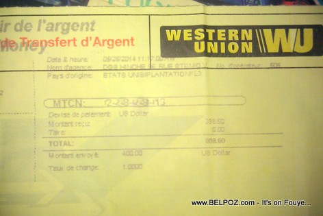 Western Union Money transfer to Haiti
