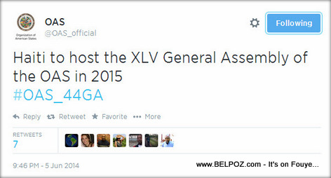 OAS Official Tweet: Haiti to host the XLV General Assembly of the OAS in 2015