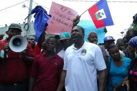 Haiti Depute Arnel Belizaire at a Protest 10 June 2014