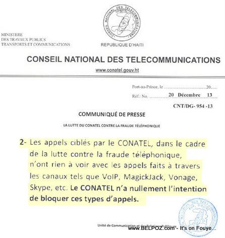 Haiti - CONATEL pa genyen okenn intention pou bloque appels VoIP
