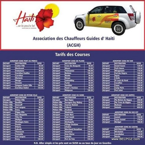 Haiti Airport Taxi Fares - Price List