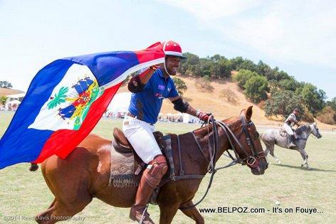 PHOTO: Haiti Polo Team Wins, Team Captain Claude-Alix Bertrand Parades the Haitian Flag