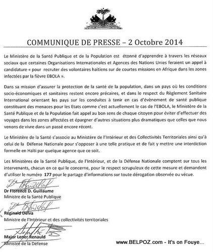 Haiti: EBOLA Communiqué de Presse - 2 Octobre 2014