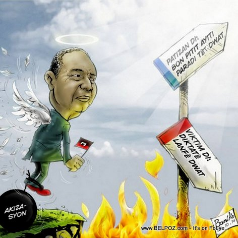Haiti Caricature - Is Jean Claude Duvalier going to Heaven or Hell?