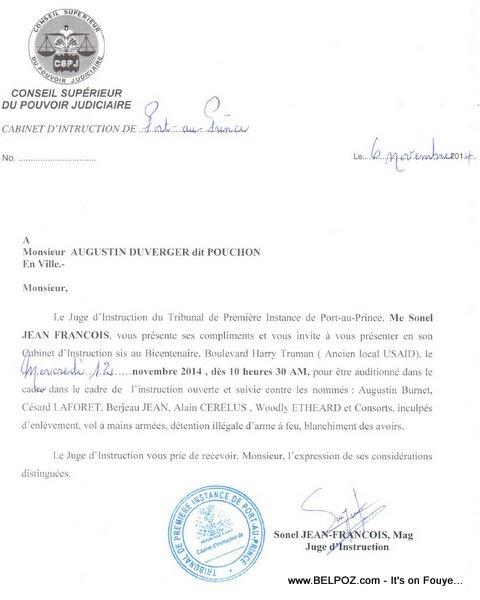 Haiti - Pouchon Djakout Mizik invité au cabinet d'instruction - gang GALIL