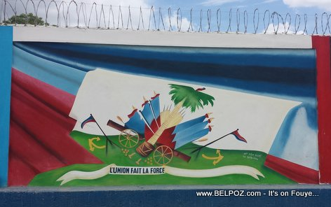 Haiti Flag Painting - Border Wall Carisal - Elias Pina