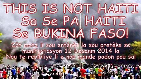 FAKE PHOTO: Haiti - Manifestation 12 Decembre 2014 - Lafimen ap monte! (Sa se Bukina Faso)