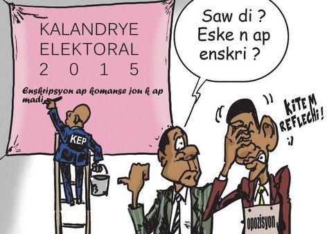 PHOTO: Haiti Caricature - Kalandrye Electoral 2015 - Opozisyon ap Reflechi