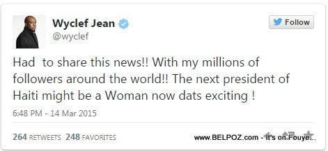Wyclef Jean Tweet - Haiti Woman President