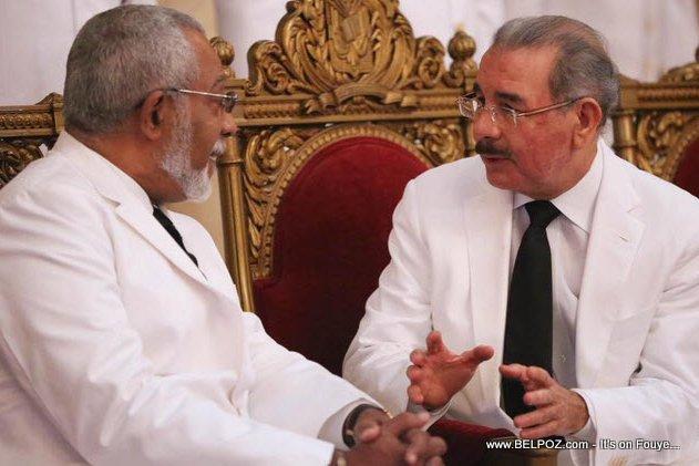 PHOTO: Haiti Ambassador Danielle Supplice and Dominican President Danilo Medina