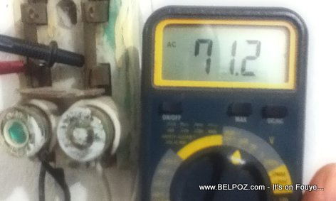 PHOTO: Haiti EDH - Household Electricy Voltage Test - 71.2 Volts...