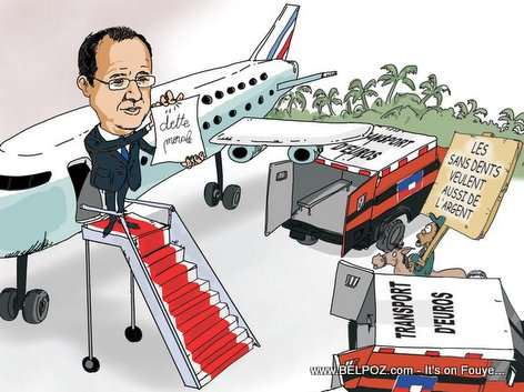 PHOTO: Haiti Caricature - Francois Hollande vini peye Dette Morale la...